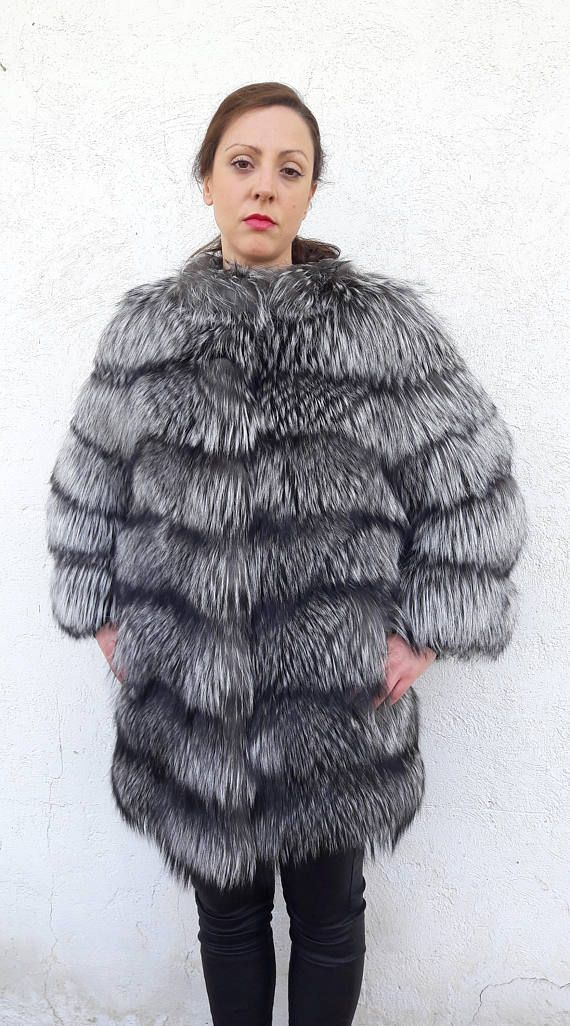 SiLVER FOX FuR coat/jacket FULL SKIN  Vollhaut Silberfuchs