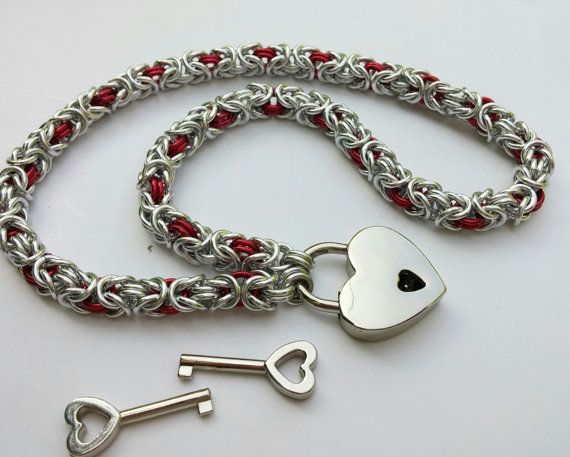 BDSM Slave Collar Byzantine Chainmaille by TheCagedFlower on Etsy
