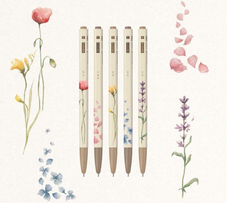 Korea 153 Ballpoint Pen MONAMI Flower Series 0.5mm Ink Black 5PCS Free Gift  #MONAMI