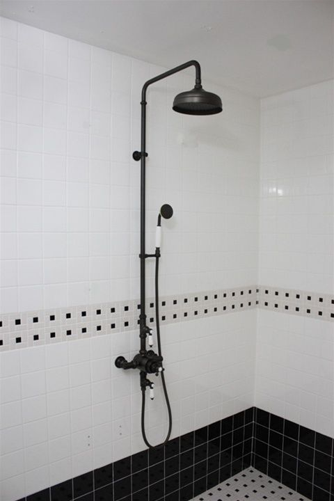 vintage shower head | curbless shower with vintage-y head/taps. | For the Home