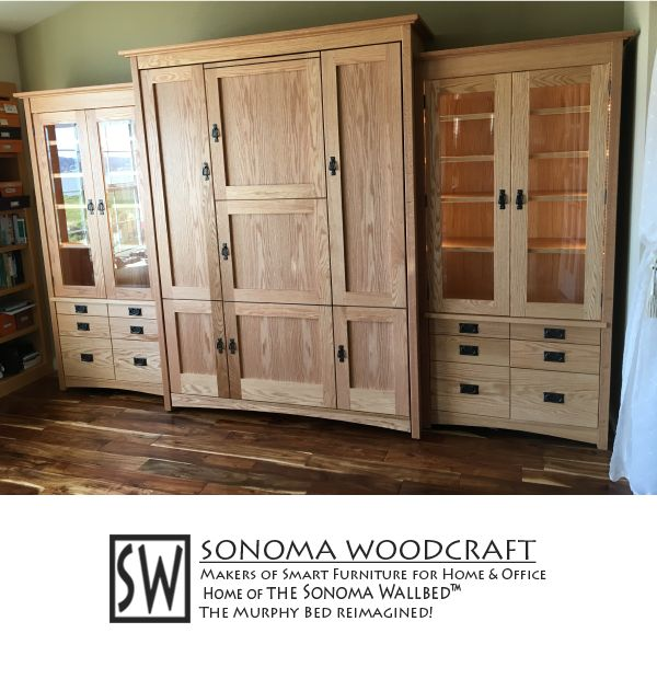 """Think you know what you're looking at? You're probably wrong! This gorgeous craftsman style storage system is actually a murphy bed, a.k.a. a wall bed. And that's not all. Two of its faux doors fold down into a 28"""" x 55"""" table, great as a desk, a craft table, or even a dining table! Two 36"""" side units flank the bed, with hidden pull-out, fold-out bedside tables, beautiful beveled glass, and adjustable shelves. This is heirloom-quality murphy bed is """"smart furniture"""" for your guest room or…"""