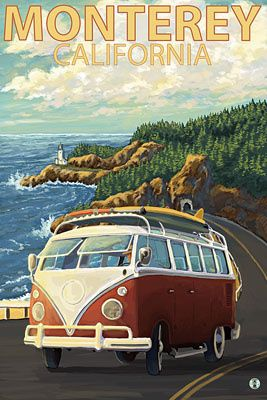 Monterey, California - VW Van - Lantern Press Poster