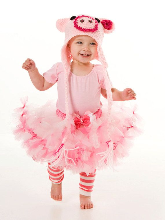 Petti Tutu Skirt - Halloween or Birthday Costume - Pink - Squiggly Piggly - 12 Month to 2 Toddler Girl