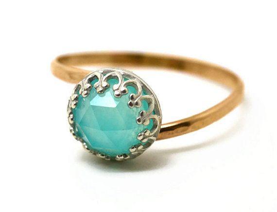 Blue Opal Ring, Peruvian Opal Engagement Ring, 14K Gold Fill Ring, Blue Gemstone Wedding Ring on Etsy, $194.00