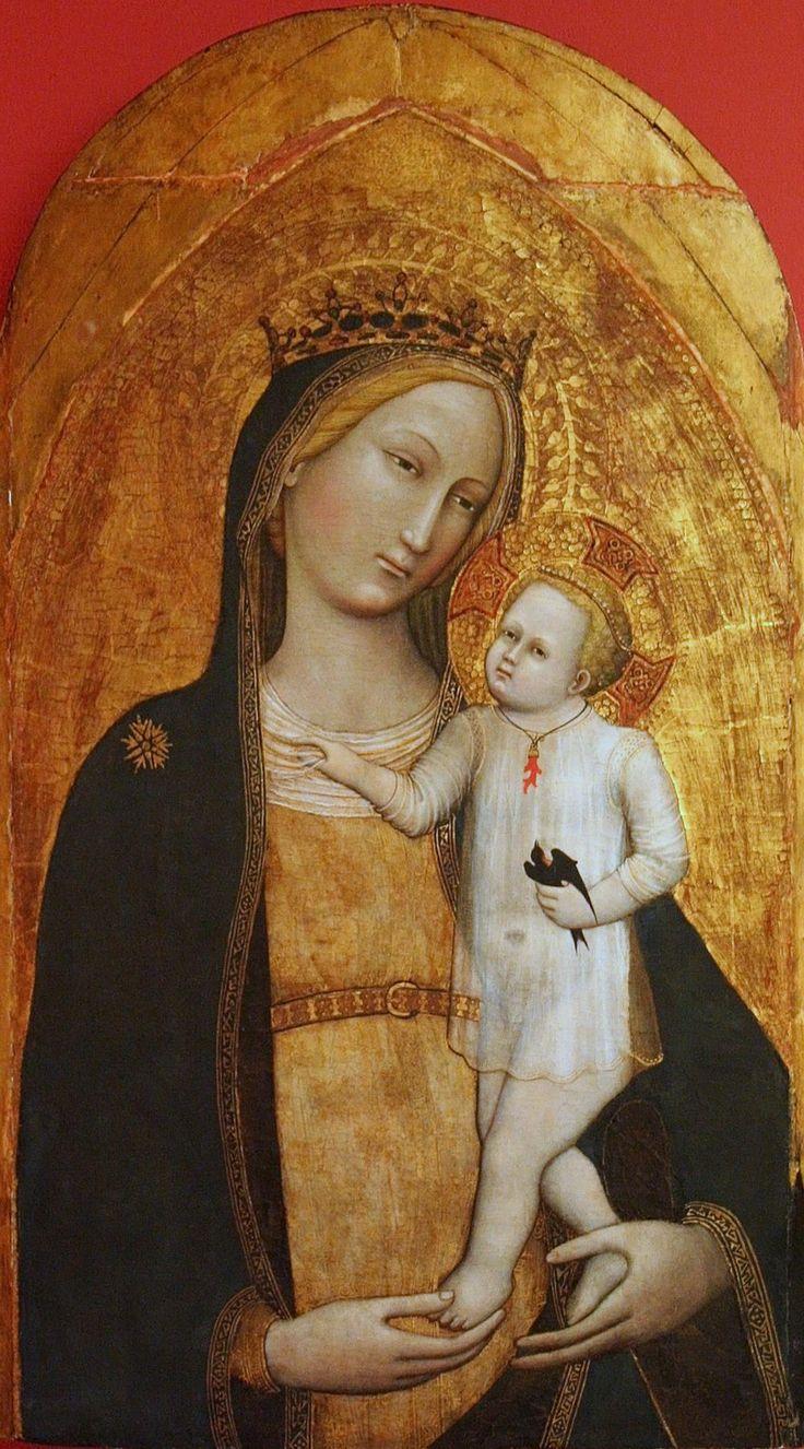 Master of the Straus Madonna — Madonna and Child, 1385-1389 : The Bonnefanten Museum, Maastricht. Netherlands (1000x1802)