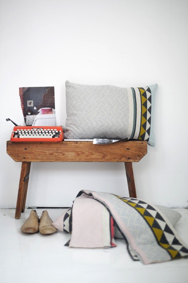 Pillow and blanket in design Vilma,  a soft cotton knit