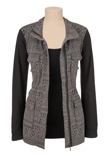 Love the contrast sleeve on this patterned jacket from @maurices  I especially love pairing this with a floral romper for a downtown femme look,  or a rock tee and skinny jeans for an edgy chic feel