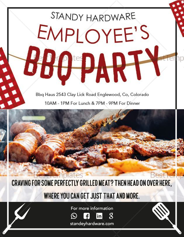 employee s barbeque party flyer template bbq party idea