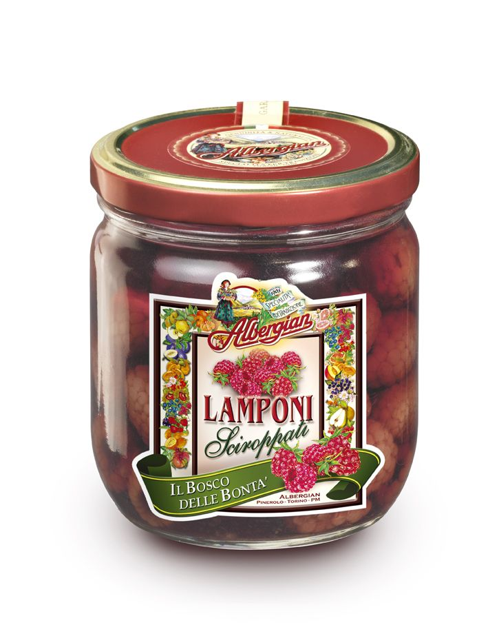 Such as fruit prepared by grandmother: raspberries in syrup. The taste of italian food. http://www.albergian.it/shop/frutta-sciroppata/lamponi-sciroppati/