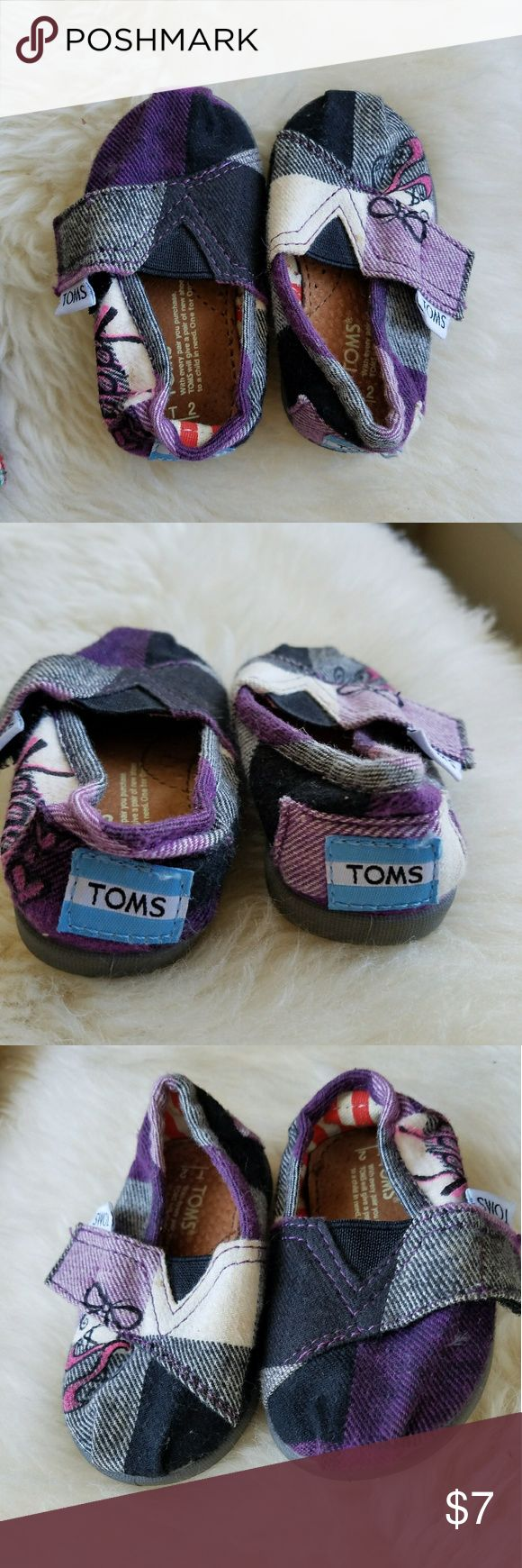 """Embellished Purple Plaid classics Baby Tom's classic size T2 . Purple black and gray checker/plaid. These have been embellished with a unique design in black and pink ballet shoes and """"Vada"""". Cute if you like the name TOMS Shoes Sneakers"""