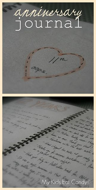 Anniversary Journal: Write in your journal each year on your anniversary about what you did and how the past year has been for you! (i wanna start this now, it would be great to read when we are old!) Such a wonderful idea; hope I remember this!!!!