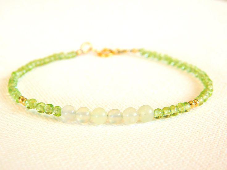 Beaded Bracelet, Gemstone Bracelet, Peridot and New Jade Bracelet, Delicate, Dainty Bracelet by jljewellerydesign on Etsy