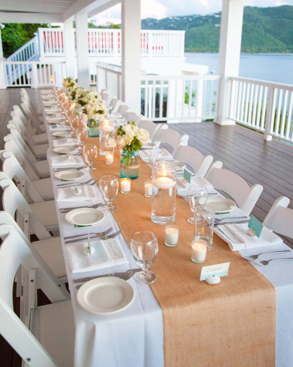 "Burlap 12"" wide by 7 feet long Premium Burlap Table Runner - Natural Burlap - Holiday - Wedding or Party -  burlap runners"