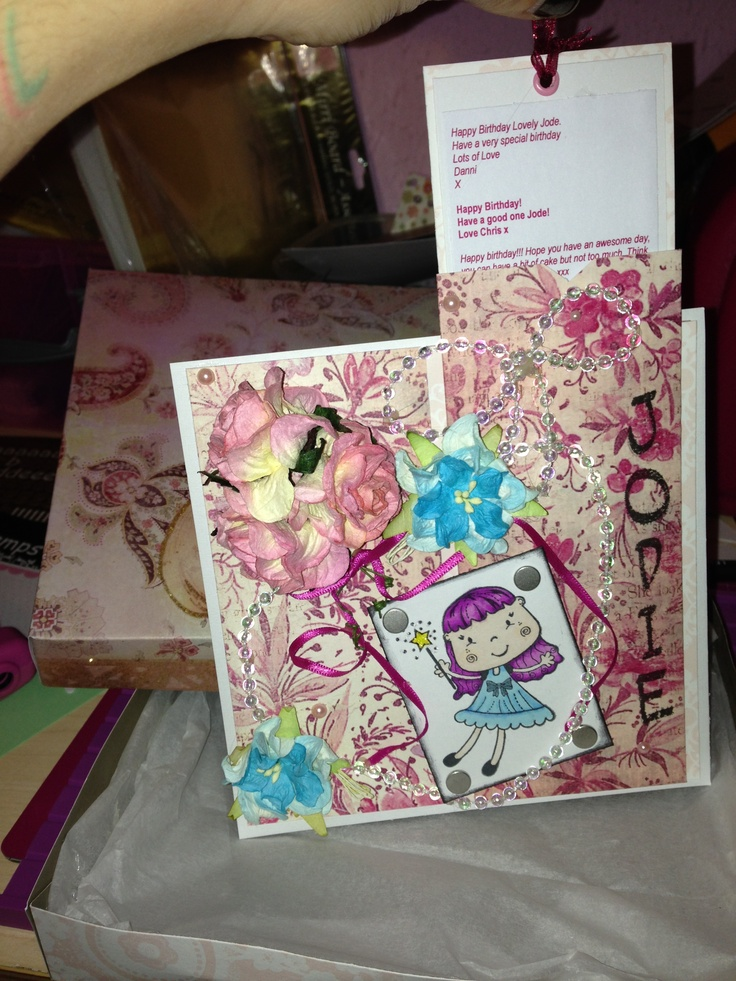 Personalised birthday card with message-pocket!