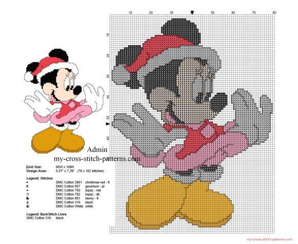 Disney Minnie vestitino di Natale schema punto croce