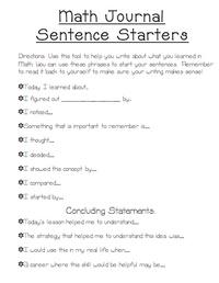 25+ best ideas about Math sentence starters on Pinterest | Math ...