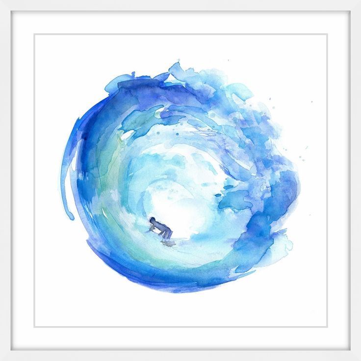 Marmont Hill - 'Surf Wave Blue Green' by Michelle Dujardin Framed Painting Print