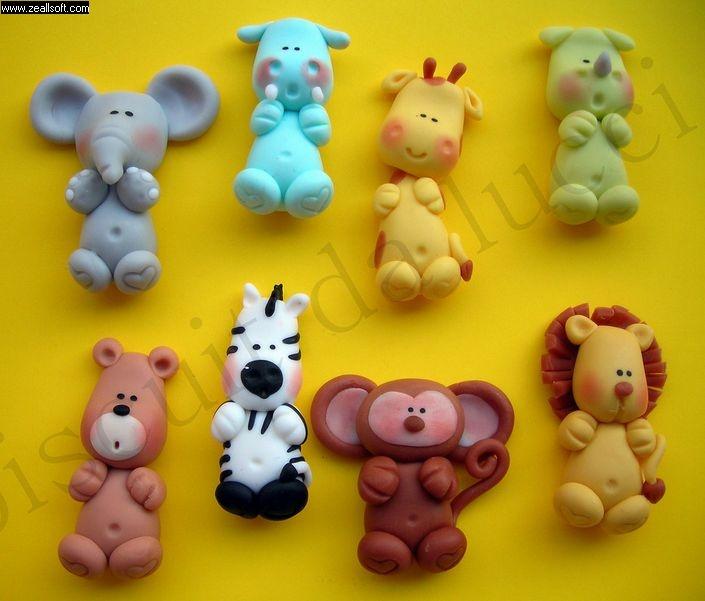 Apliques animais da selva. #biscuitdalucci #porcelanafria #biscuit