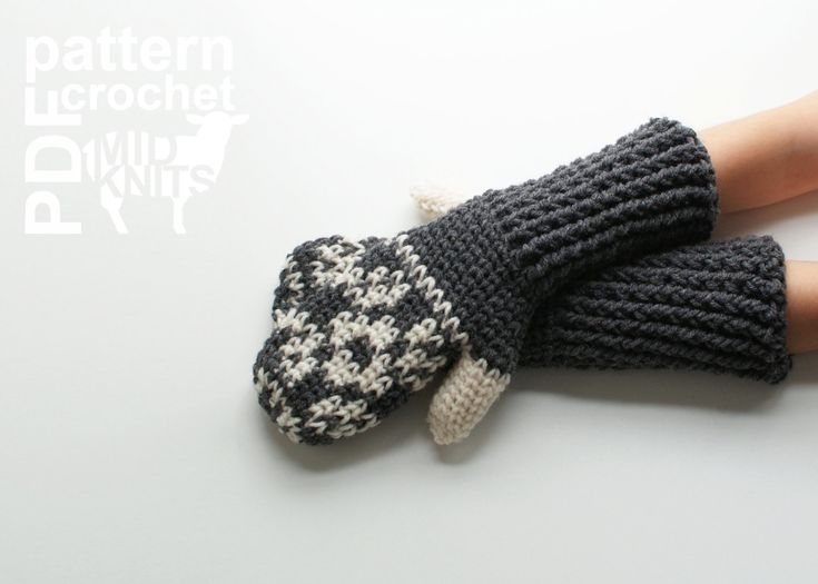 DIY Crochet PATTERN Floral Fair Isle Crochet Mittens by Midknits
