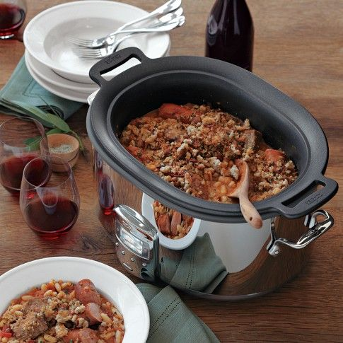 All-Clad Deluxe Slow Cooker | Williams-Sonoma    Can use on stovetop to brown meat, then transfer to slow cooker