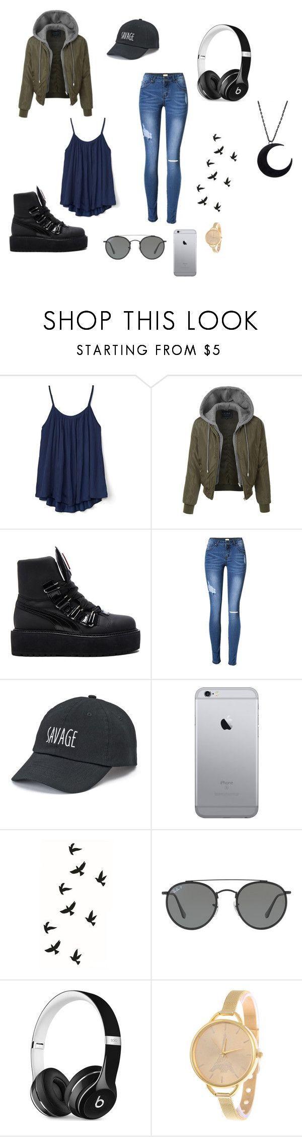 """""""Downtown savage"""" by maddyhorien on Polyvore featuring Gap, LE3NO, Puma, SO, Ray-Ban and Beats by Dr. Dre"""