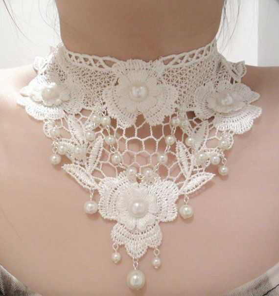 Handmade Lace Necklace with Pearl, Wedding Necklace, Bridal Necklace