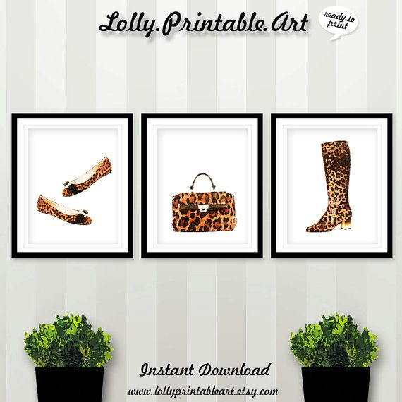 Leopard Shoes Leopard Bag Leopard Boots by LollyPrintableArt