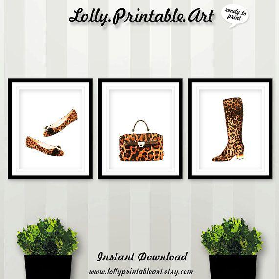 Leopard Shoes Leopard Bag Leopard Boots by LollyPrintableArt