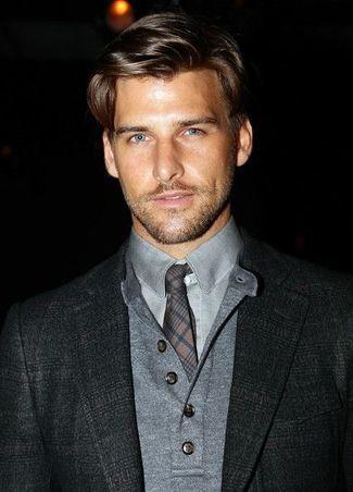 Men's Grey Henley Shirt, Grey Dress Shirt, Charcoal Plaid Tie, and Charcoal Wool Blazer
