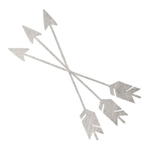 This is a 2 x 2 temporary tattoo of three crossed arrows in silver. This is the perfect accessory for your bikini or any other important meeting your