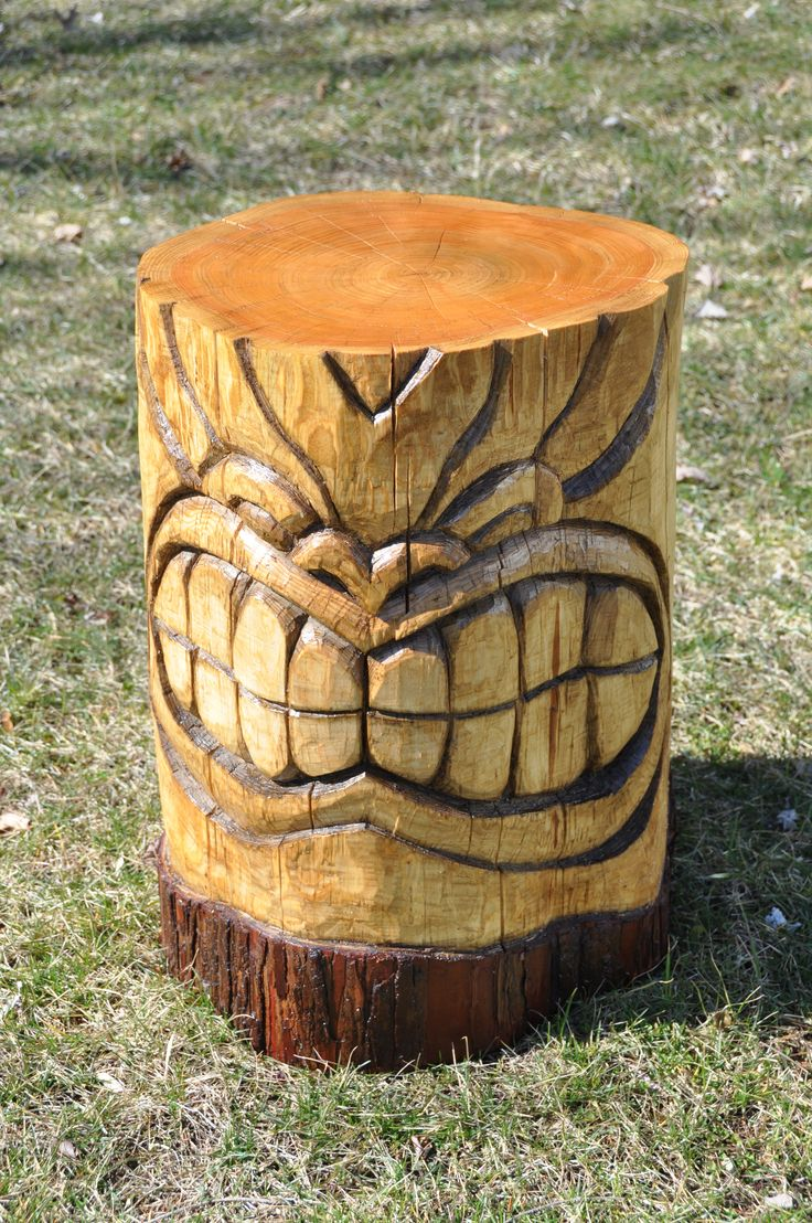 Hand carved tiki table wood carving