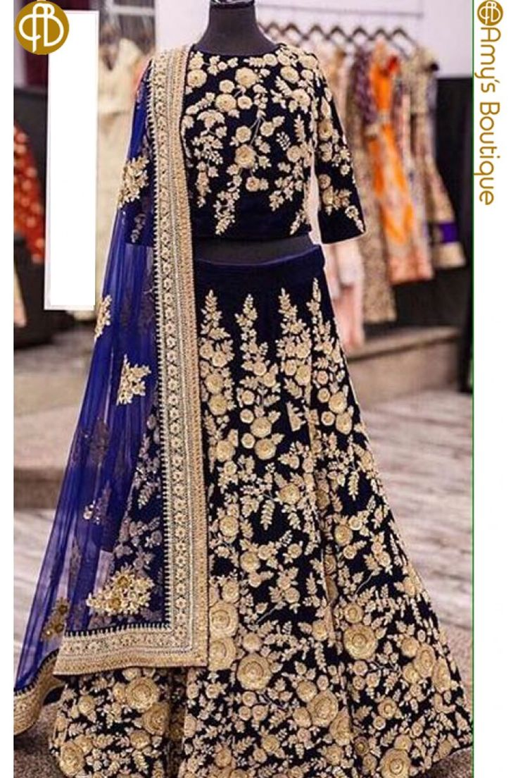 Beautiful Blue & Velvet Heavy Designer Lehenga Choli