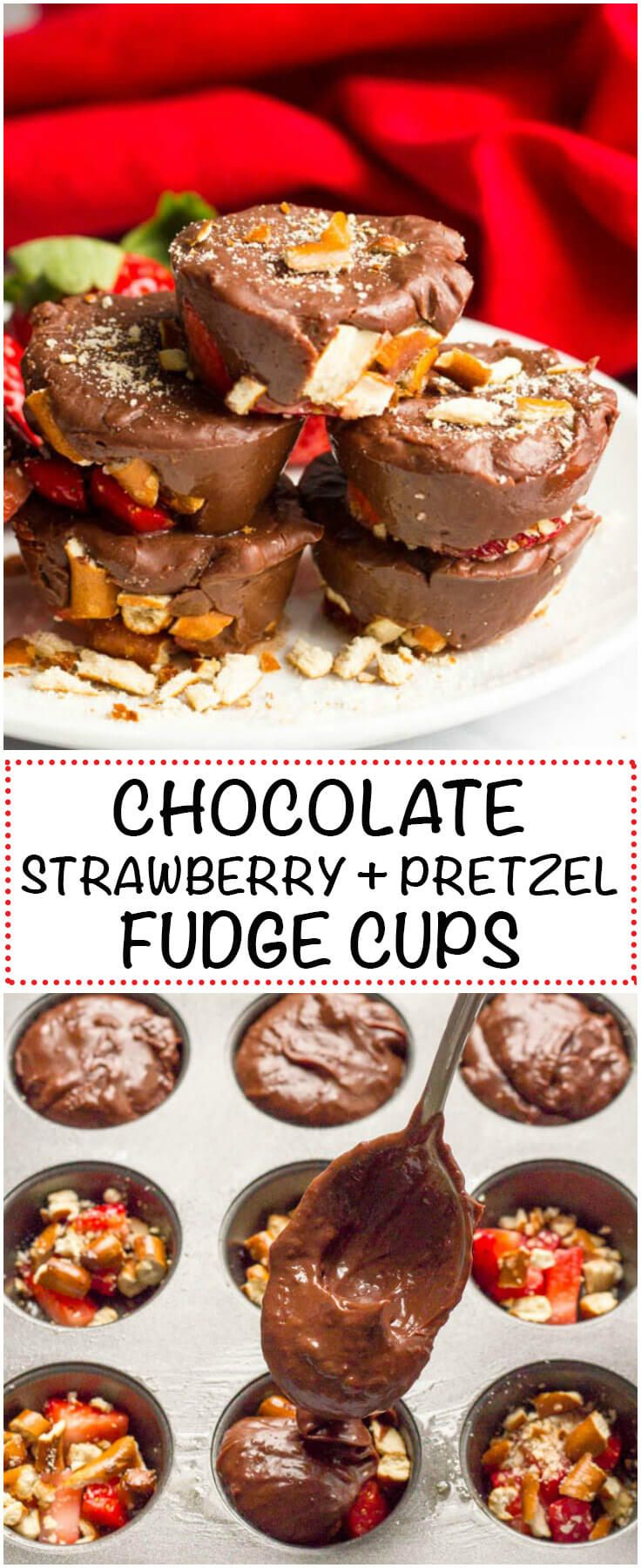 Chocolate strawberry pretzel fudge cups are an easy, no-bake dessert with just 5 ingredients!   www.familyfoodonthetable.com