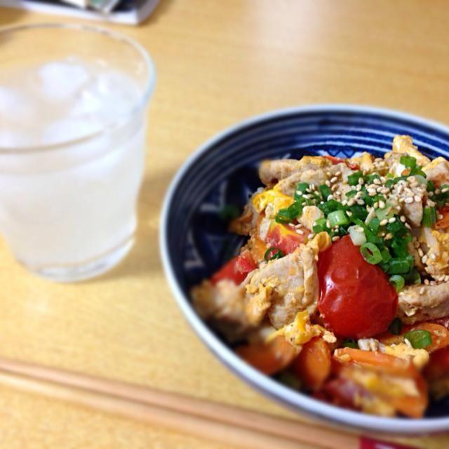 今日は酎ハイ!!! - 8件のもぐもぐ - 豚肉とトマトの卵炒め by あさこ