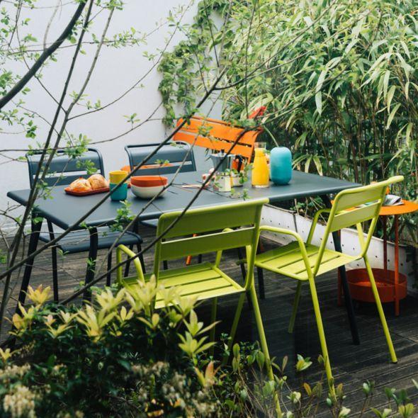 Salon de jardin Fermob Monceau : 4/6 pers. carbone/verveine ...