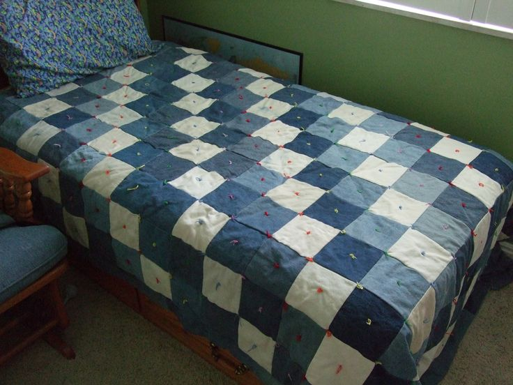 reuse old jeans with a jean quilt
