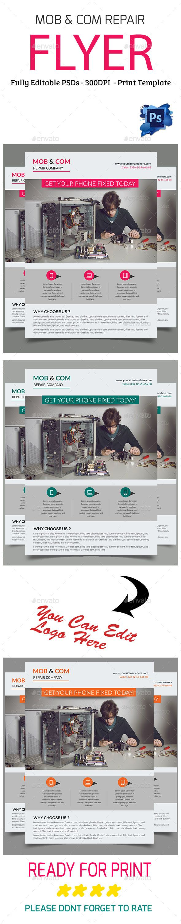 Mobile & #Computer Repair #Flyer - Flyers Print #Templates Download here: https://graphicriver.net/item/mobile-computer-repair-flyer/19576324?ref=alena994