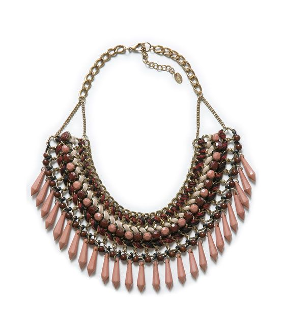 BEADED INTERWOVEN NECKLACE from Zara
