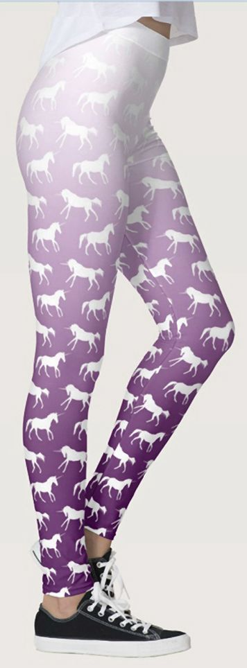 Unicorn Leggings - purple ombre colored equestrian themed unicorn pattern horse lover legging pants. These are so cute for anyone who loves unicorns!
