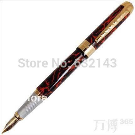 Jinhao 250 черный и золотой м перьевая ручка перо красный узор