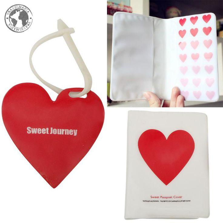 Porta Pasaporte e Identificador de maleta corazón. Medidas: 13,5 x 10 cm.