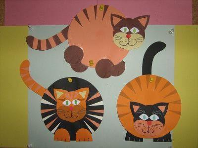 Kočičky z barevného kartonu