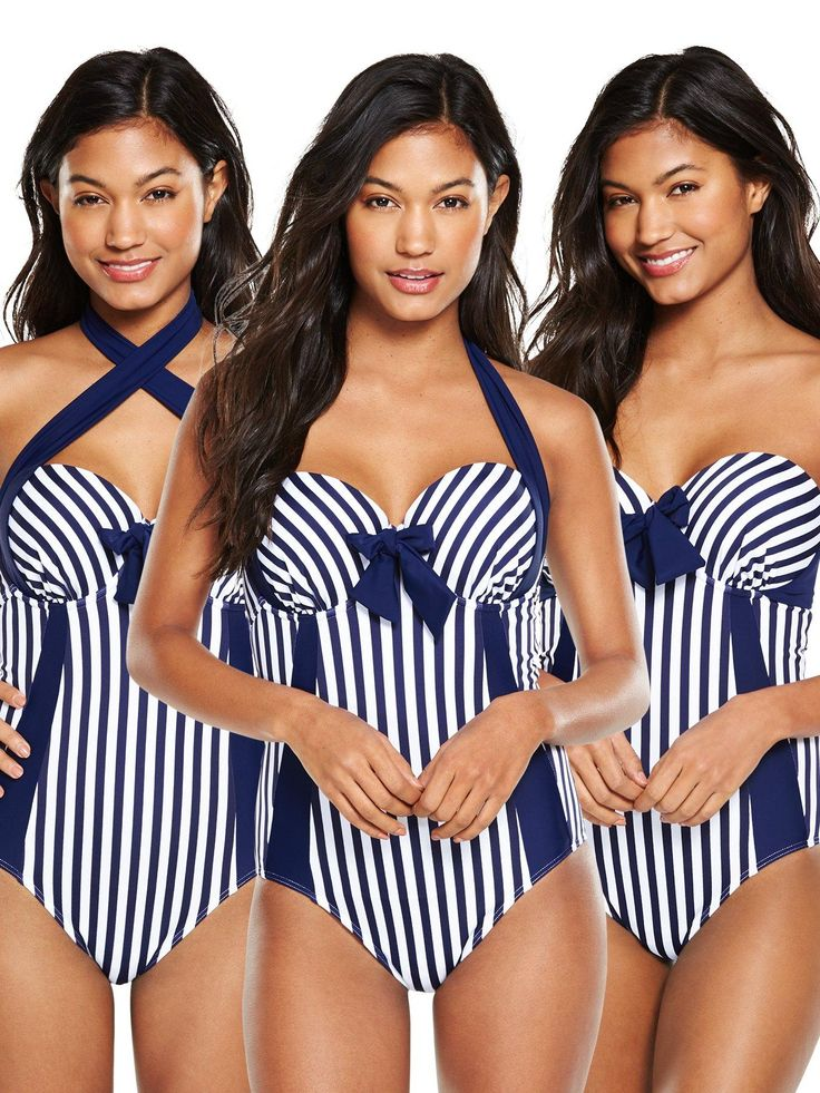 V by Very Controlwear Underwired Multiway Swimsuit - Navy/WhiteFrom V by Very'sControlwear range, this multiway swimsuit is all about looking a total dreamboat when you hit the beach. It's presented in a French Riviera-inspiredblue and white stripe with a tonal bow detail for a feminine flourish. Moulded underwiredcups offer plenty of support and a lifted look, while a powermeshpanel sleeks out your tummy for a smooth finish. Styling Ideas Choose which way you want to wear ...