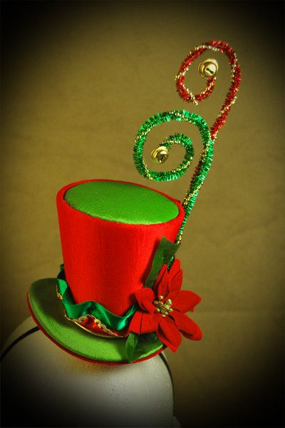 Christmas, Burlesque, Gothic, Steampunk, Victorian, Showgirl, Moulin, Rogue, Green and Red Iridescent Taffeta Mini Top Hat. $26.99, via Etsy.