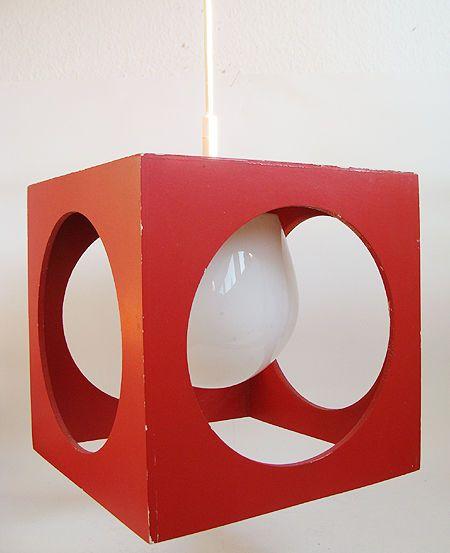70er jahre würfellampe CUBE LAMP holz & opalglas kubus lampe ufo panton ära