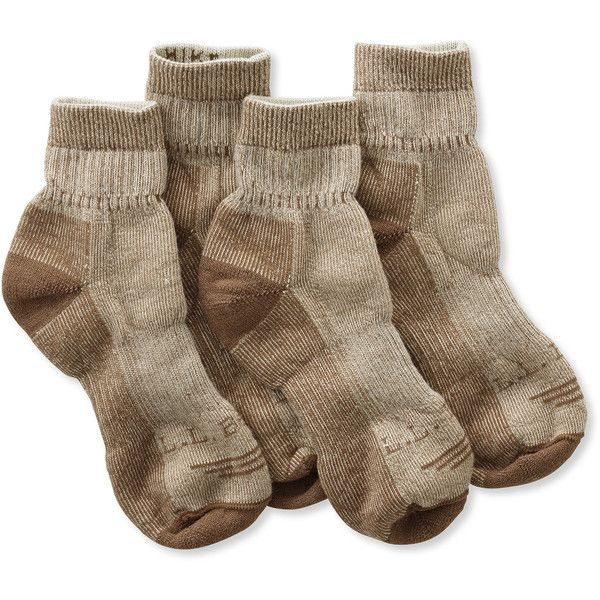 L.L.Bean Cresta Wool-Blend Hiking Socks, Midweight Quarter-Crew... ($25) ❤ liked on Polyvore featuring intimates, hosiery, socks, sweat wicking socks, wicking socks, moisture wicking socks, wool blend socks and crew socks