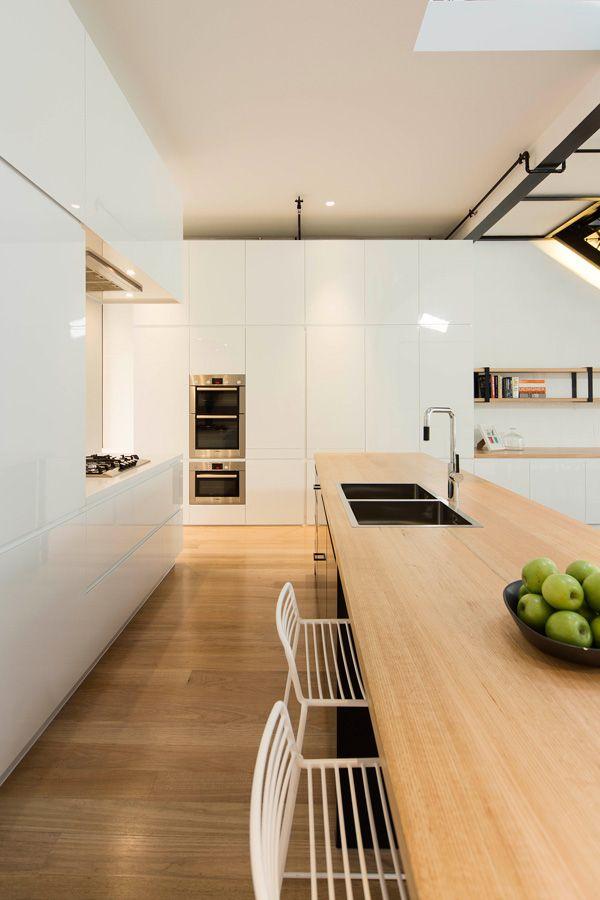 wood + white modern