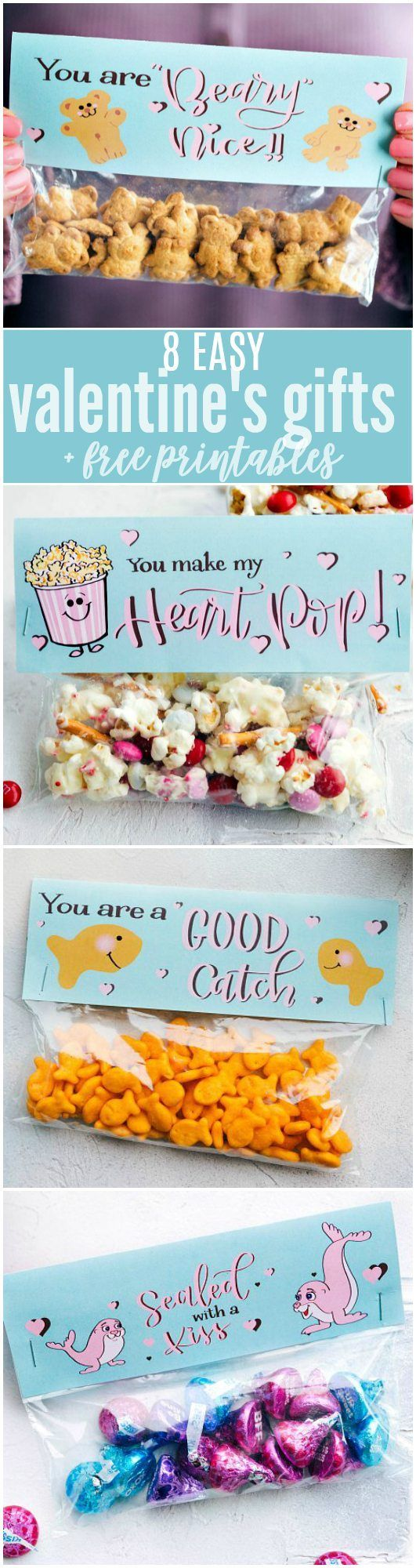4 MORE homemade and easy Valentine's Day gifts! These candies/treats are put in a snack-size ziplock bag and you can staple on the FREE printable bag toppers! video tutorial Above this text is a q
