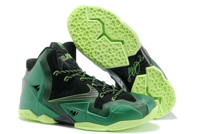 Nike LeBron James XI 11 Mens NBA Shoes Black Green Volt Colorways