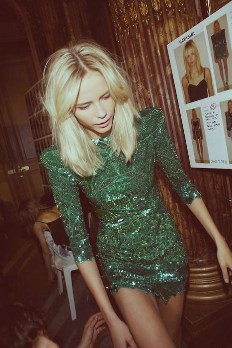 Balmain: Minis Dresses, Natasha Poly, Parties Dresses, Sequins Dresses, Shoulder Pads, The Dresses, New Years, Green Dresses, Emeralds Dresses